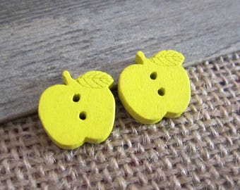 5 x 17mm yellow wood Apple buttons