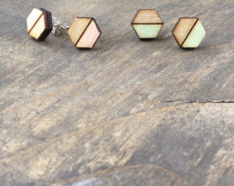 Wooden Hexgon Earrings in Mint and Blush