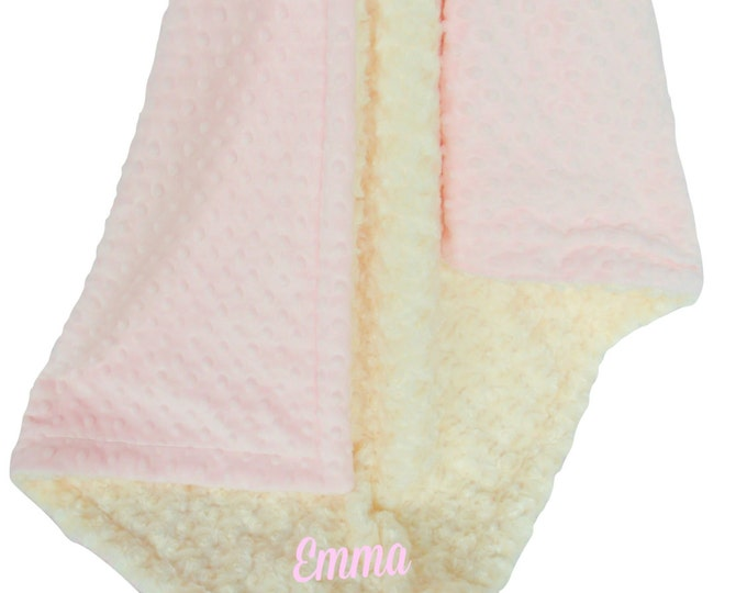 Pink and Ivory Minky Dot Baby Blanket, Pink Minky Dot and Ivory Cream Swirl Minky Baby Blanket,