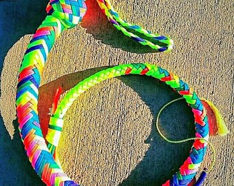 Whippie Dos, a bright, multicolored, paracord whip.