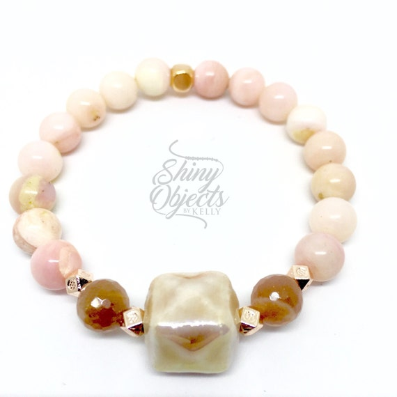 Peruvian Opal, Rose Gold and Sunstone Beaded Bracelet
