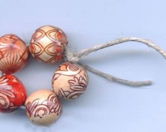 4 Circles of 5 Wooden Red and Tan Beads (20 beads total) on a Hemp Cord - Lucky Dip - Assorted - Grab Bag