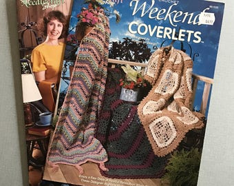 Lot of 2 Crochet Lapghans & Coverlet Books