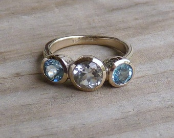White Topaz Recycled White Gold Engagement Ring,14k Palladium White Gold, Eco Friendly, Conflict Free