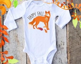 NEW Fall Onesies®, Happy Fall Fox Onesie, Baby Boy Onesie, Autumn Onesie, Woodland Animals, Graphic Onesie, Baby Singlet, Fox, Fall Baby
