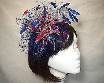 Rosa Hut Fascinator, blau, Ascot Fascinator, Mutter der Braut Hut, einzigartige fascinator