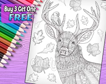 Deer with Leaves - Adult Coloring Book Page - Printable Instant Download