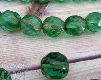 12mm Czech Glass Faceted Spiral Sliced Peel Cut Round Picasso Bead  - 6pcs - Olivine Green - Shabby Vintage Style - Central Coast Charms