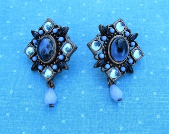 Blue Glass Cabochon Copper Earrings Signed Avon SP