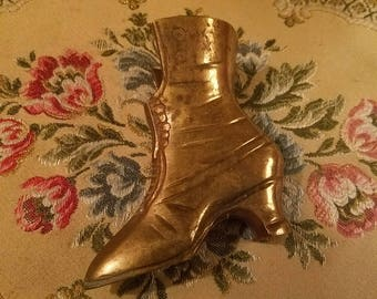 Vintage Solid Brass Witchy Victorian Boot Vase Statue, Ladies Shoe