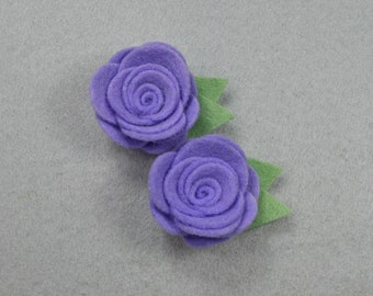 Barrette Set (2) Purple Flower, Made-To-Order - Felt Flower, Felt Barrette Felt Clip, Flower Hair Clip, Artificial Flower, Fake Flower
