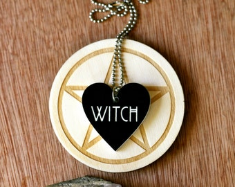 Laser Etched Black and White Acrylic Witch Heart Necklace