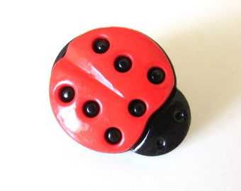 Button Lady Bug Shank Back Novelty Sewing Supply - Set of 6