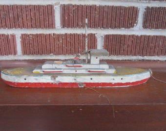 Vintage 1930s/40s Wooden Toy Pond Boat Battleship Folk Art Nautical Decor