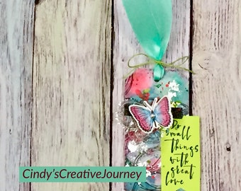 Butterfly tag - Butterfly mixed media tag - Mixed media Butterfly - Blue and Pink Butterfly tag - Teal and Pink Butterfly tag - Mixed media