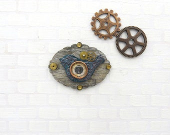 Steampunk plate with bird and barometer in 1:12 scale