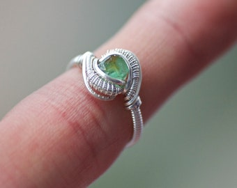 Size 4.5, Double Terminated Colombian Emerald, Sterling Silver Wire Wrapped Ring
