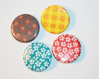 4 Origami Pin Back Buttons -1.25in