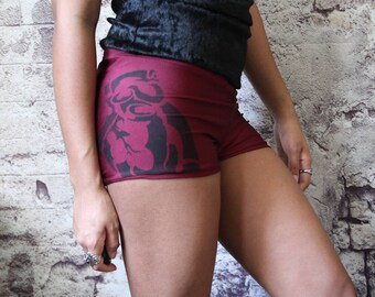 Wine Anataomical Heart Booty Shorts