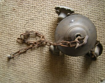 antique light-pendant light-copper and brass-parts only??-1 bobeche missing-needs cleaning-needs rewiring-art deco-