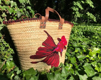 Beach basket, basket Wicker shopping basket, straw bag, decorated, limited edition fish