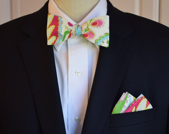 Men's Pocket Square & Bow Tie set, multi color eastern garden print, wedding party wear, groomsmen gift, groom bow tie set, men's gift set