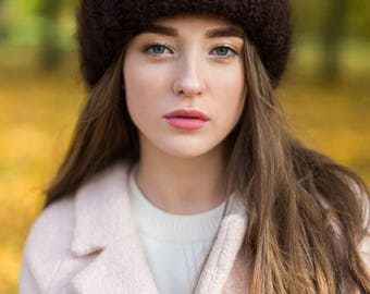 Mohair winter knit hat