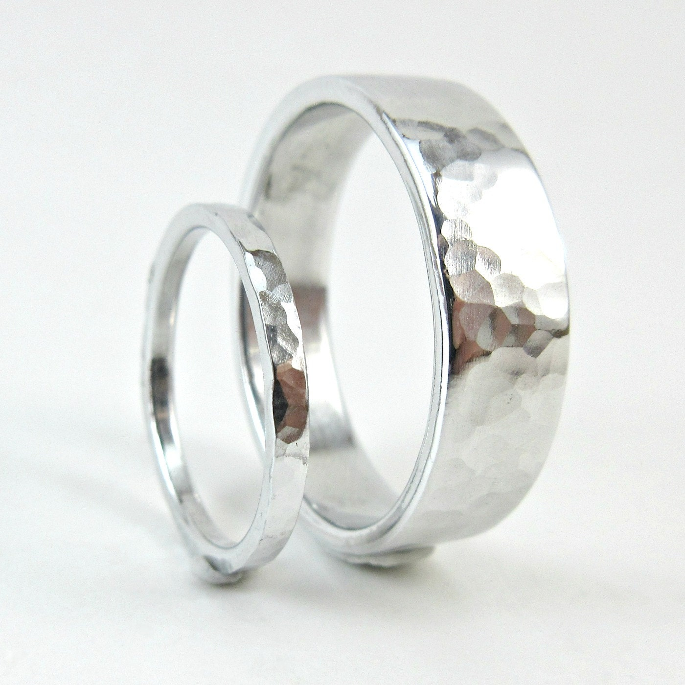 Hammered Aluminum Ring Set 10 Year Anniversary Bands His and