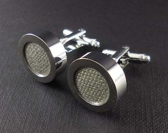 Mens gray linen cuff links - 12th or 4th anniversary gift – stone grey groom or groomsmen wedding cufflinks present – mans accessories