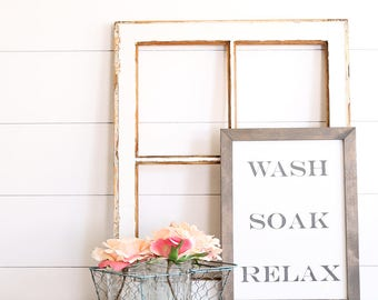 FREE SHIPPINGWash Soak Relax Farmhouse Style Rustic Wood Sign, Handmade, Inspirational Quote, Shabby Chic