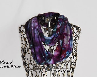 Infinity Scarf-Cotton Jersey Scarf-Tie Dye Scarf-Plum and Peacock Blue OR Pick your two-Circle Scarf