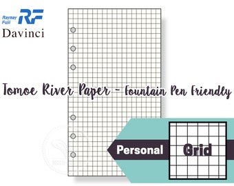 Filofax Personal Size   Raymay Davinci 5mm Grid Paper Refills / Insert - Tomoe River Paper (Fountain Pen Friendly Paper) (30 Sheets)