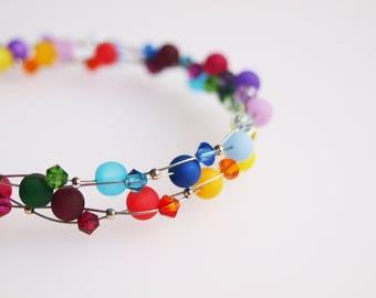rainbow necklace polaris with Swarovski® crystals pride colorful necklace