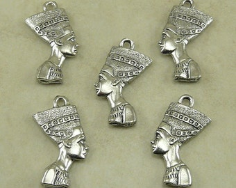 Egyptian Nefertiti Bust Charm > Goddess Queen Egypt - Raw American made Lead Free Pewter Silver - I ship internationally