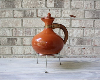Bauer Pottery burnt orange coffee carafe with lid wooden handle and stand drink pitcher