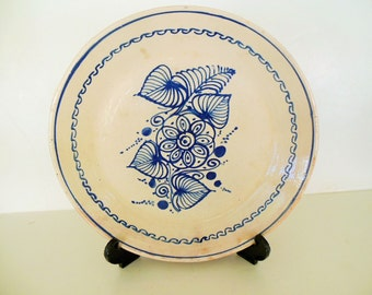 Mexican Talavera Poblana 10 3/4\  Plate Round Charger Blue Leaf on Cream & Mexicali art | Etsy
