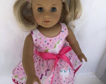 18 inch unicorn doll dress. made to fit 18 inch dolls such as American Girl Dolls and others