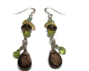 Apatite, smoky quartz, peridot and citrine earrings / Eye-catching earrings / Sweet earrings / Alluring earrings / Teardrop earrings