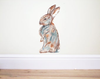 Rabbit wall decal,Bunny wall decal,woodland animals,Easter decal,Easter hare sticker,Hare decal,Peter Rabbit,Bunny nursery,happy Easter, Art