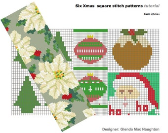 Six Xmas square stitch beading patterns and tutorial: Instant Downloadable Pattern PDF File