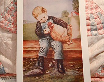 Earthy CHILD & PET ROOSTER Farmyard Print, Denim Overalls Button High Top Boots, Country Chicken Lover Scene, Vintage Kids Room Art 10 x 14