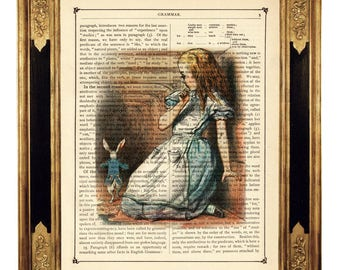 Alice in Wonderland Tunnel White Rabbit - Vintage Victorian Book Page Art Print Steampunk Color Colour Poster