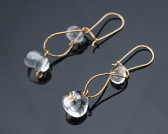 Dangle Earrings,Curved  Gold Wire, Transparent Quartz, Modern, Elegant Working Woman, For Any Outfit, Bridal