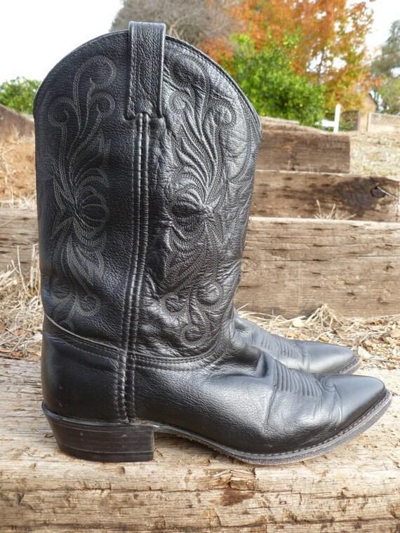 boots Post cowboy Vintage 8 Dan leather black awSXq