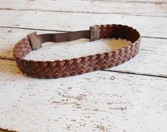 Braided Faux Leather Headband- Newborn to Adult