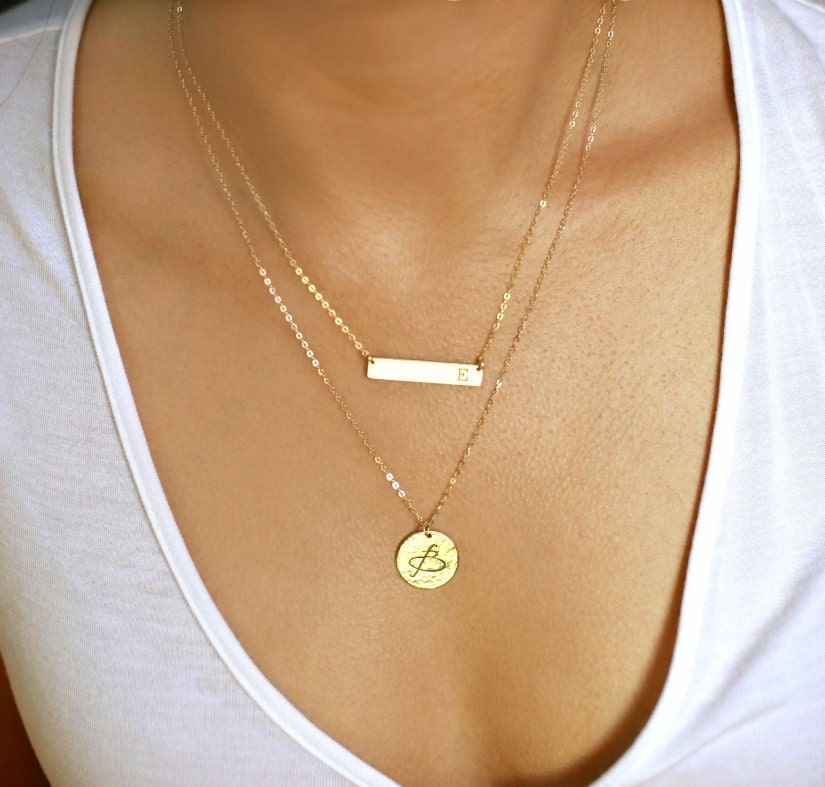 Layering Necklace Gold Bar Necklace Name Plate Necklace