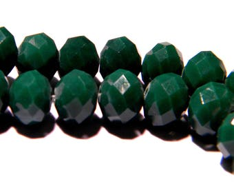"""20 faceted beads-glass 8 mm - way """"jade"""" - green-PG135-8"""