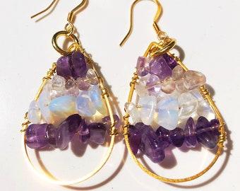 Amethyst & Moonstone Chip Gold Wire Wrapped Teardrop Earrings