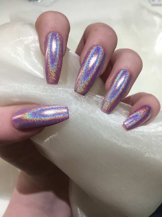 Long pink holographic coffin false press on nails