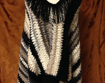 Chunky Striped Crocheted Poncho